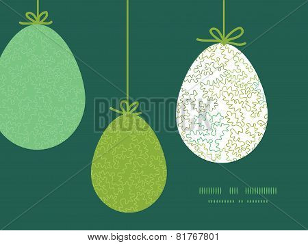 Vector curly doodle shapes hanging Easter eggs ornaments sillhouettes frame card template