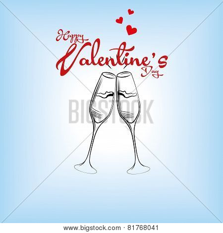 a pair of wine glasses and text with hearts for valentine's day