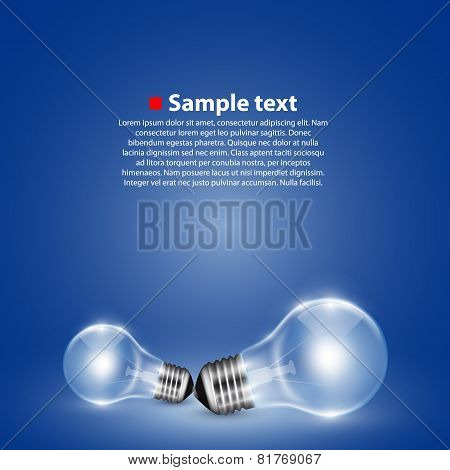 Vector light bulb on background