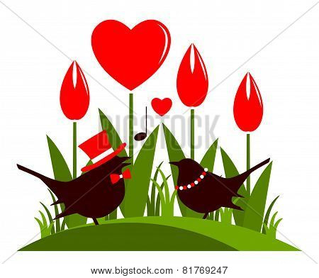 Heart Flowers And Love Birds