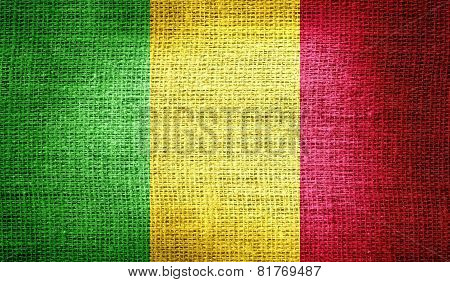 Mali flag on burlap fabric