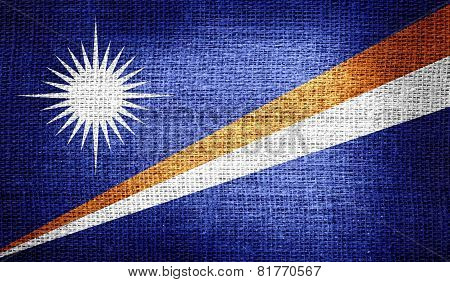 Marshall Islands flag on burlap fabric