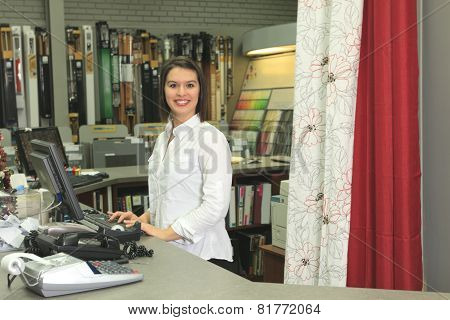 A home design shop with employee clerk