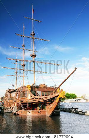 Old Frigate In Moorage St.petersburg, Russia.