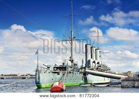 Cruiser Avrora In The City Saintt-petersburg. Russia