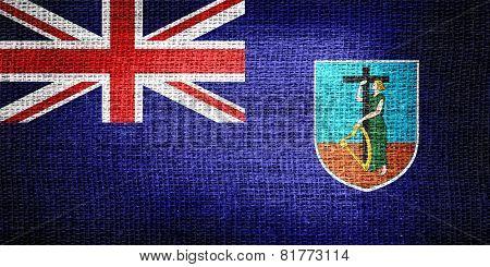 Montserrat flag on burlap fabric