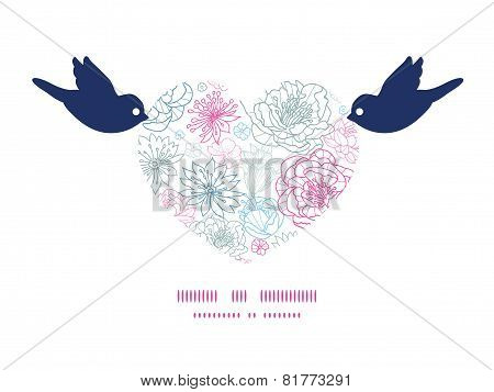 Vector gray and pink lineart florals birds holding heart silhouette frame pattern invitation greetin