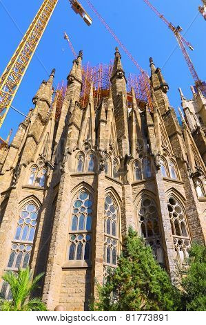 BARCELONA, SPAIN - AUGUST 28, 2008: The Basilica of La Sagrada Familia