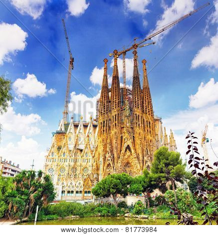 BARCELONA, SPAIN - SEPT 02, 2014: The Basilica of La Sagrada Familia