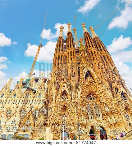 BARCELONA, SPAIN - SEPT 02, 2014: The Basilica of La Sagrada Familia