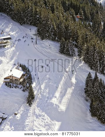 Slope At Swiss Alpine Resort Aerial View