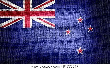 New Zealand flag on burlap fabric