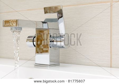 Chromium-plate Tap With Water.