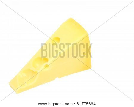 Piece Of Fresh Cheese On White. Isolated