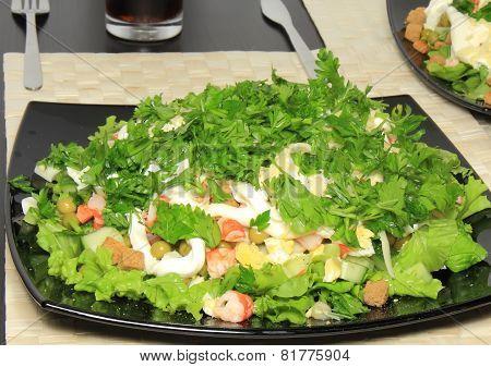 Salad With Shrimps, Dried Crust, Leaf Of Lettuce.