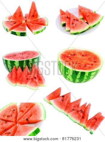 Collage Of Watermelon On White, Isolated