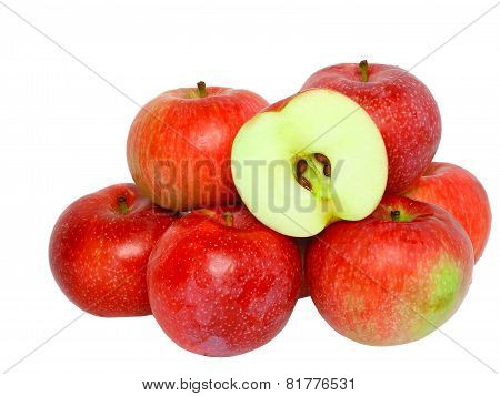 Heap Cutting Of Ripe, Red Apples. Isolated.