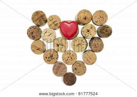 Red Heart With Wine Corks Form A Heart Shape On Isolated White