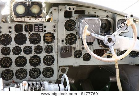 Cockpit of an old airplane