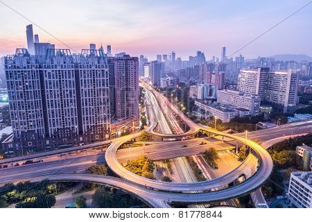 Guangzhou Huangpu Interchange In Twilight