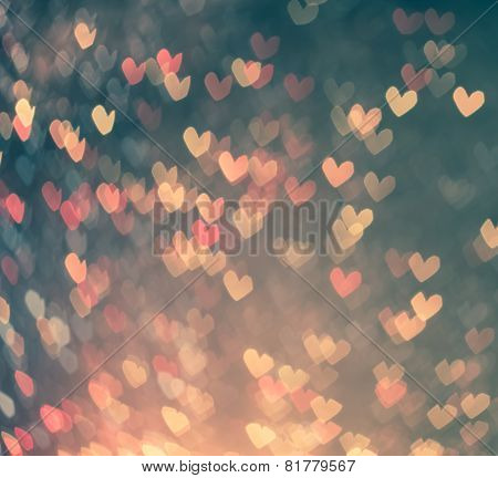 Colorful Hearts Bokeh As Background