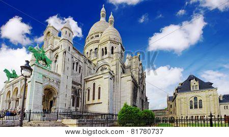Sacre Coeur Cathedral On Montmartre , Paris
