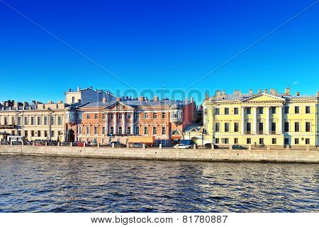 Embankment Of The River Of Neva In St. Petersburg, Russia