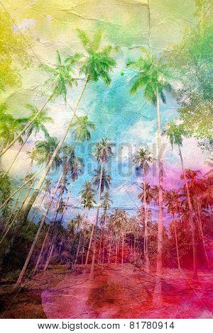 Watercolor Retro Palm Grove