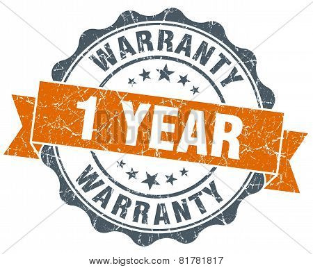 1 Year Warranty Orange Vintage Seal Isolated On White