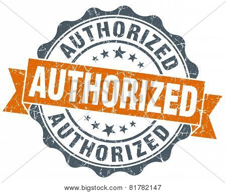 Authorized Orange Vintage Seal Isolated On White