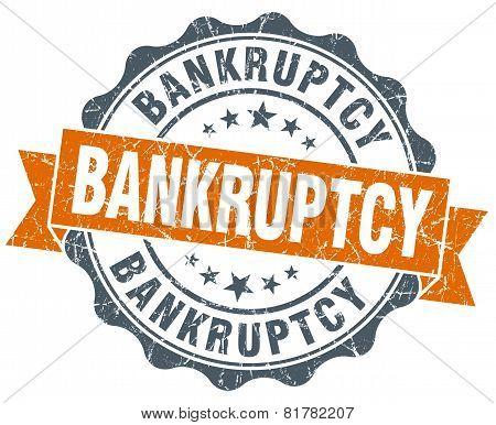 Bankruptcy Orange Vintage Seal Isolated On White