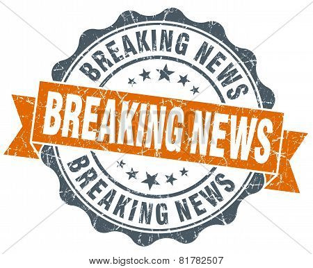 Breaking News Orange Vintage Seal Isolated On White