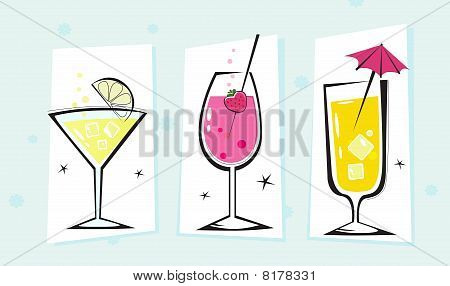 Stylized retro drinks collection isolated white background - VECTOR