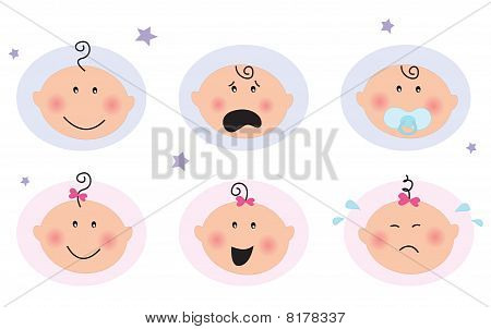 Baby boy and girl icons: facial expression