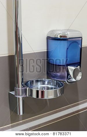 Soap Dispenser In Bathroom.