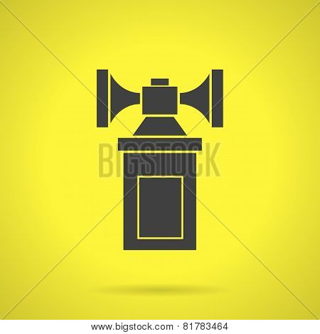 Black air horn flat vector icon