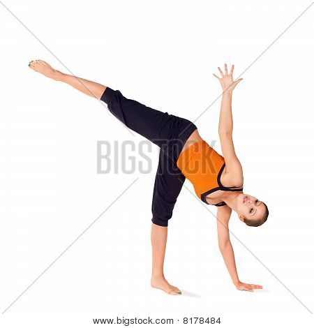 Fit Attractive Woman Practicing Yoga Exercise