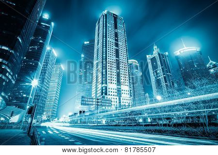 Futuristic City With Light Trails