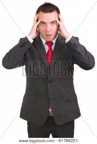 Businessman Hold A Head In Horror Condition.