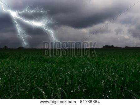 Lightning Across The Countryside Field.