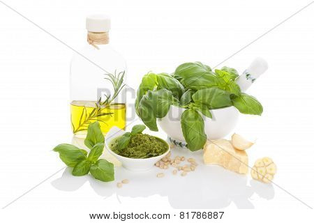 Basil Pesto With Ingredients on white background.