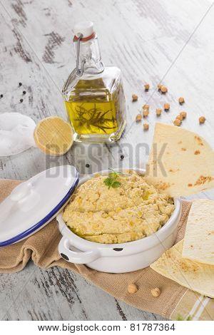 Hummus Background. Chickpeas dip.