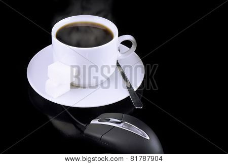 Cup Of Coffee, Mouse On A Black.