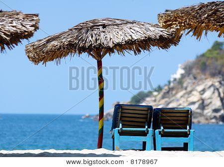 Strawy Ubrellas, Puerto Escondido, Mexico