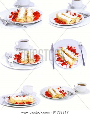 Collection-pancakes With Rolled Fruit.isolated