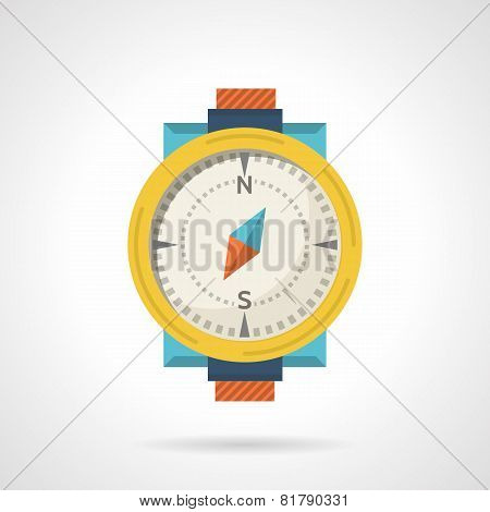 Colored compass flat vector icon