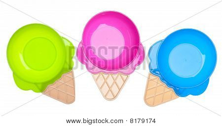 Three Bright Ice Cream Shaped Bowls