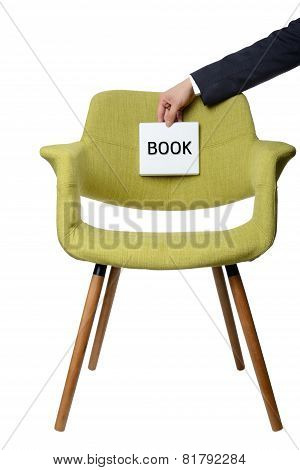 Businessman Hold Paper Note To Book Modern Green Armchair  Wooden Leg Isolated On White Background,s
