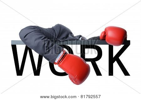 Tired Businessman With Boxing Glove After Fight With Hard Work
