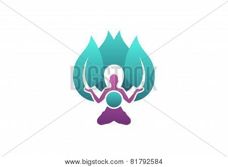 meditation health yoga logo,healthy spiritual fitness symbol icon